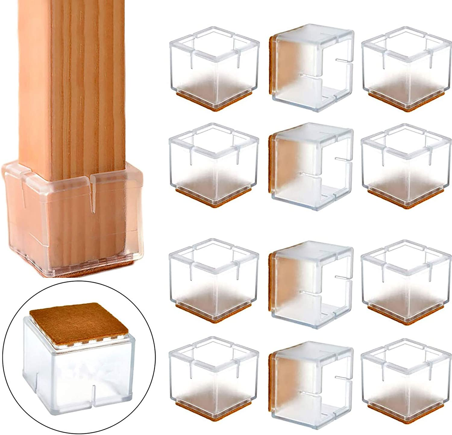 """Furniture Silicon Protection Cover, POCADOM Square Chair Leg Caps 12Pcs Furniture Table Feet Cover Pad Floor Protector 1 1/8"""" to 1 3/8"""" with Felt Pads, Clear"""