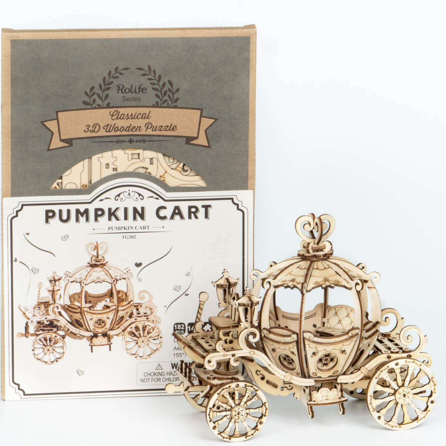 Rolife 3D Puzzle Wooden Puzzles for Adults Birthday Christmas Party Decor Gift Pumpkin Cart
