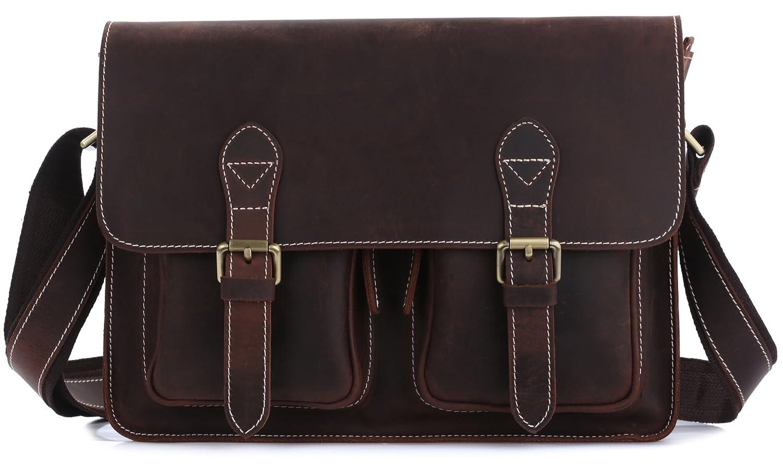 [(チョウギュウ) 潮牛] アンティーク風 厚手牛革 本革 メンズ ショルダーバッグ A4鞄 ブラウン B01J3GILUW