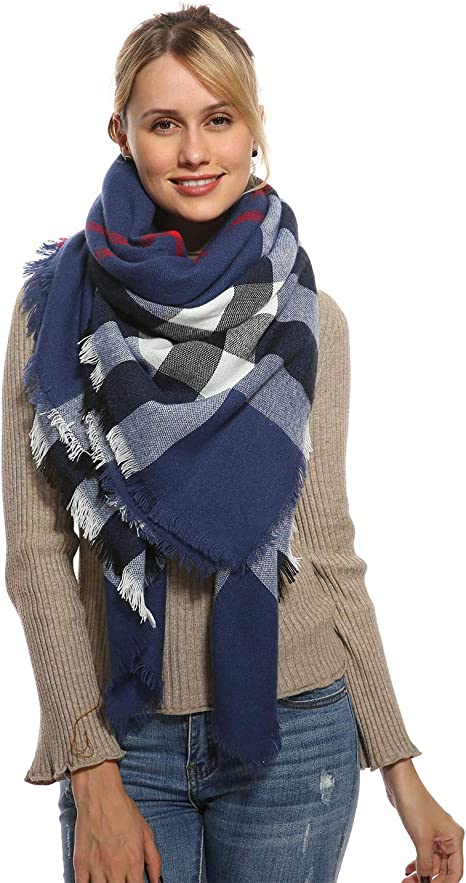 New Winter Warm 100/% Cashmere Feel Plaid Wraps Scarves Blue