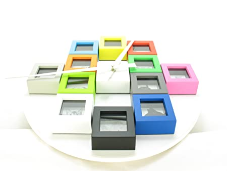 Wall Clock With Multi Coloured Photo Frames: Amazon.co.uk: Kitchen ...
