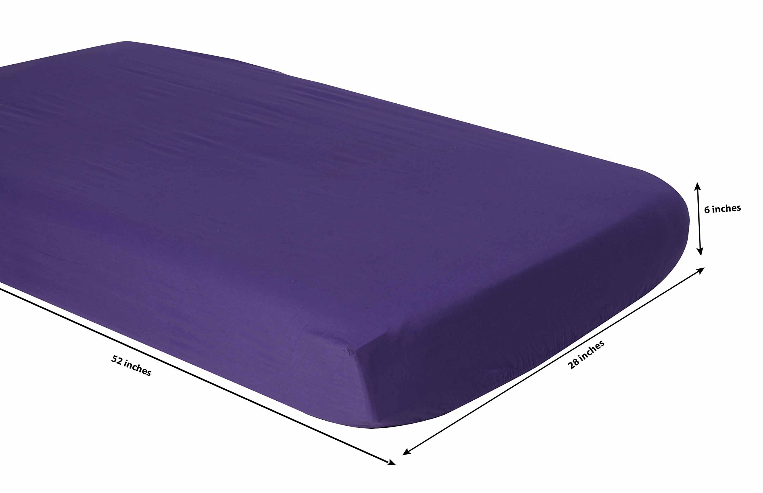 Bacati Mix and Match Zigzag/Dots 3 Piece Toddler Bed Sheet Set, Purple
