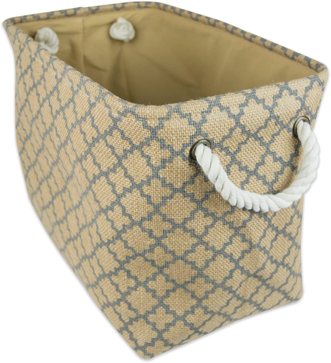 "DII Collapsible Burlap Storage Basket or Bin with Durable Cotton Handles, Home Organizational Solution for Office, Bedroom, Closet, Toys, & Laundry (Medium –12x10x16""), Gray LatticeOutline"