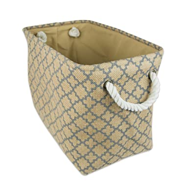 DII Collapsible Burlap Storage Basket or Bin with Durable Cotton Handles, Home Organizational Solution for Office, Bedroom, Closet, Toys, & Laundry (Medium –  12x10x16 ), Gray Lattice  Outline