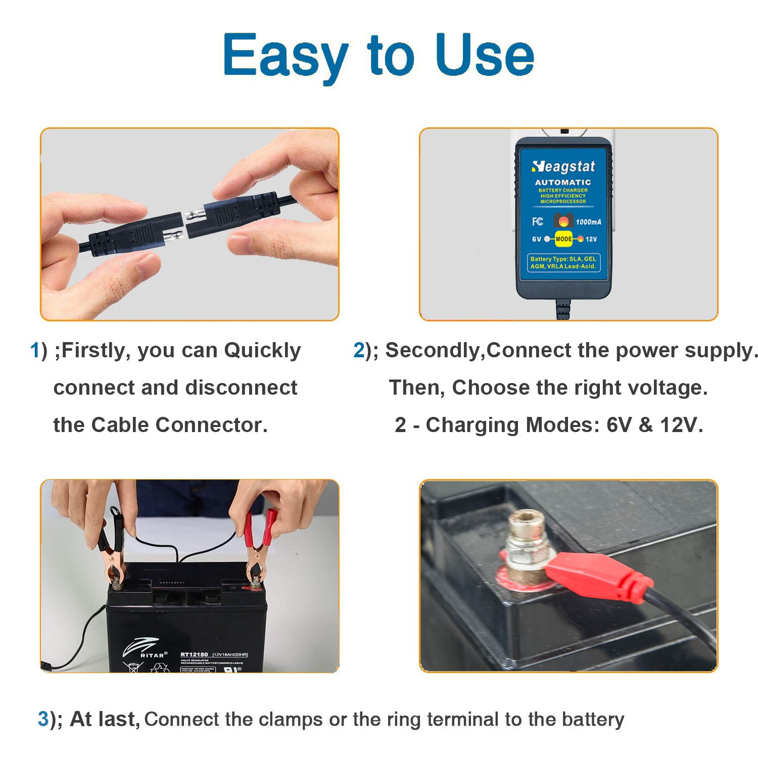 Heagstat Trickle Battery Charger 6v 12v 1000ma Automatic Gel Cell Circuit Diagram Smart Maintainer For Auto Car Motorcycle Lawn Mower Boat Atv Sla Agm