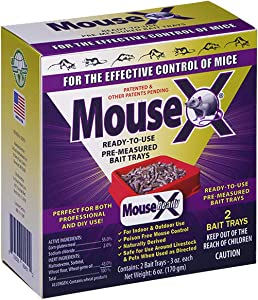 EcoClear Products 620107, MouseX All-Natural Non-Toxic Humane Mouse Killer Pellets, Ready-To-Use Pre-Measured 3 oz. Bait Trays, 2-Pack