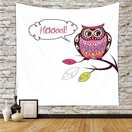 Amazon.com: iPrint Polyester Tapestry Wall Hanging,Owls Home Decor ...