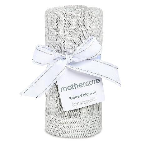 Mothercare gris 100% algodón de punto bebé manta para cochecito o Moisés cesta 75 cm