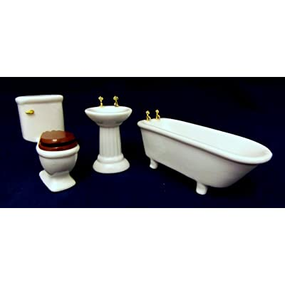 Dollhouse Miniature 1:12 Scale 3 Pc White Bathroom SET #M0349w: Toys & Games