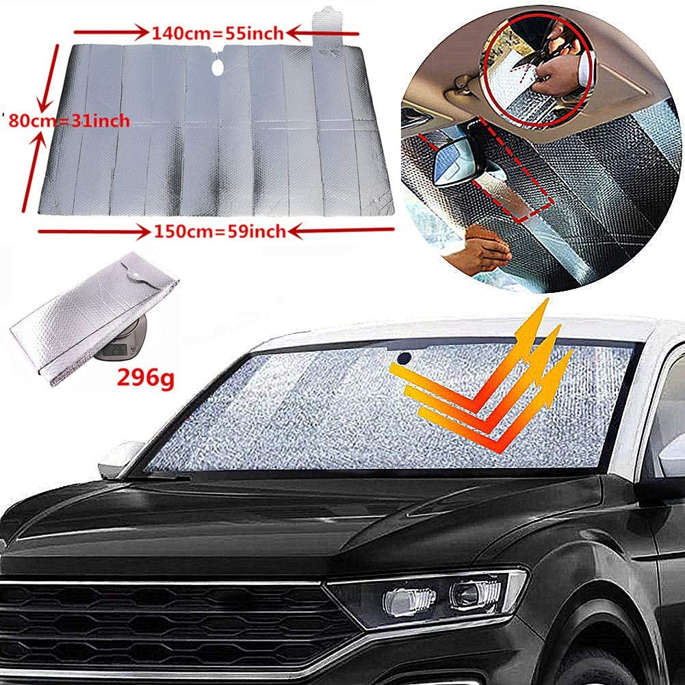 """GWUSKDT Car Windshield Sunshade,Car Sun Protector,Foldable Car Front Window Shade-Double Bubble Silver Coated for Auto Windshield Sun Shade UV Protection and Heat Reflector(59""""x 31"""")"""