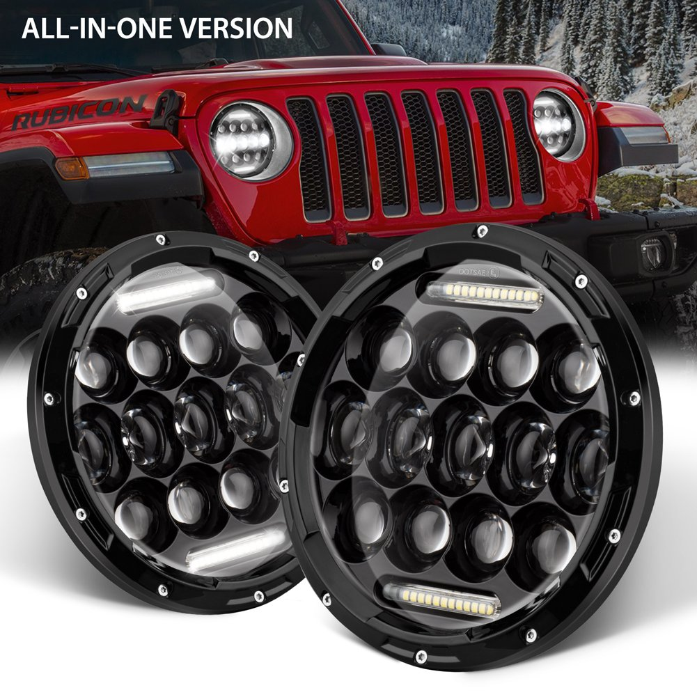 GoodRun Jeep Wrangler Headlights 7 LED High//Low beam for 1997-2017 TJ JK /& Unlimited White DRL Dot Approved Car Accessories JW-HL05