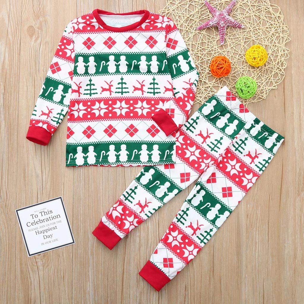 Christmas Daddy Mom Kids Baby Long Sleeve Cartoon Print Romper Xmas Family Clothes WMY-008