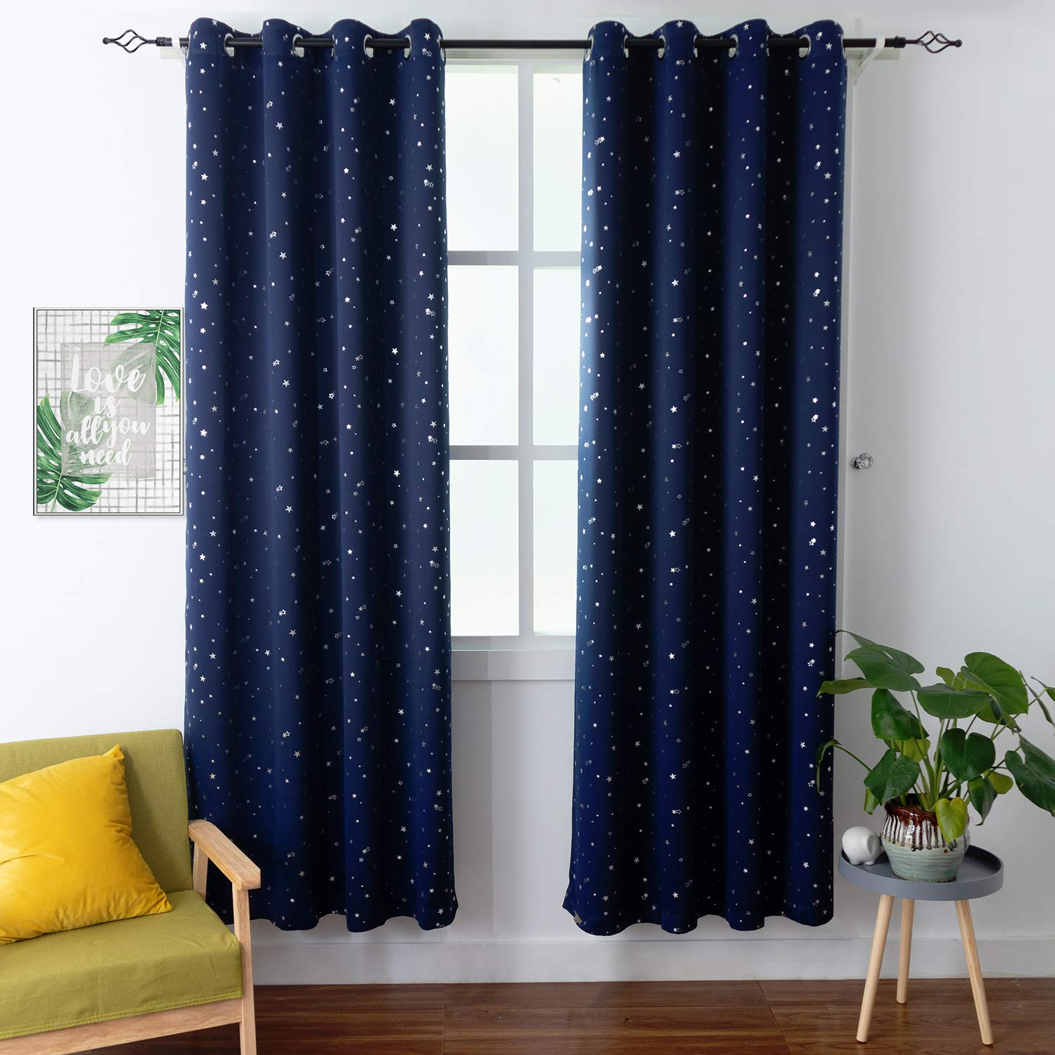 BGment Kids Blackout Curtains for Bedroom - Grommet Thermal Insulated Room Darkening Silver Star Printed Curtains for Living Room, Set of 2 Panels (52 x 84 Inch, Navy Blue)