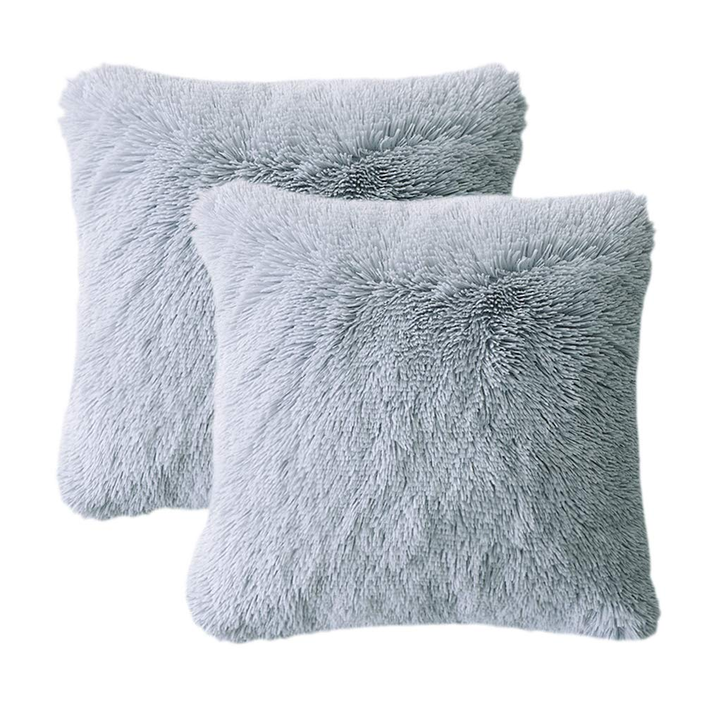 LIFEREVO 2 Pack Shaggy Plush Faux Fur Decorative Throw Pillow Cover Velvety Soft Cushion Case 18 x 18 Inch, Gray