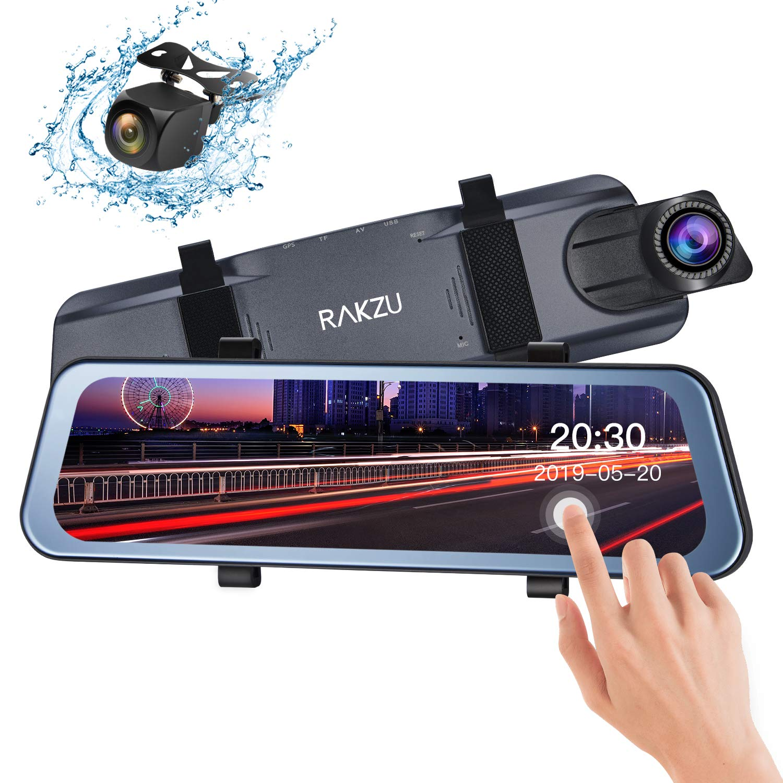 Rear View Mirror Dash Cam, RAKZU 10 Inch Full Touch Screen Streaming 170 Degree Reversing Backup Camera Mirror Cam, Dual 1080P HD Front and Rear Waterproof Camera, G-Sensor Parking Monitor by RAKZU