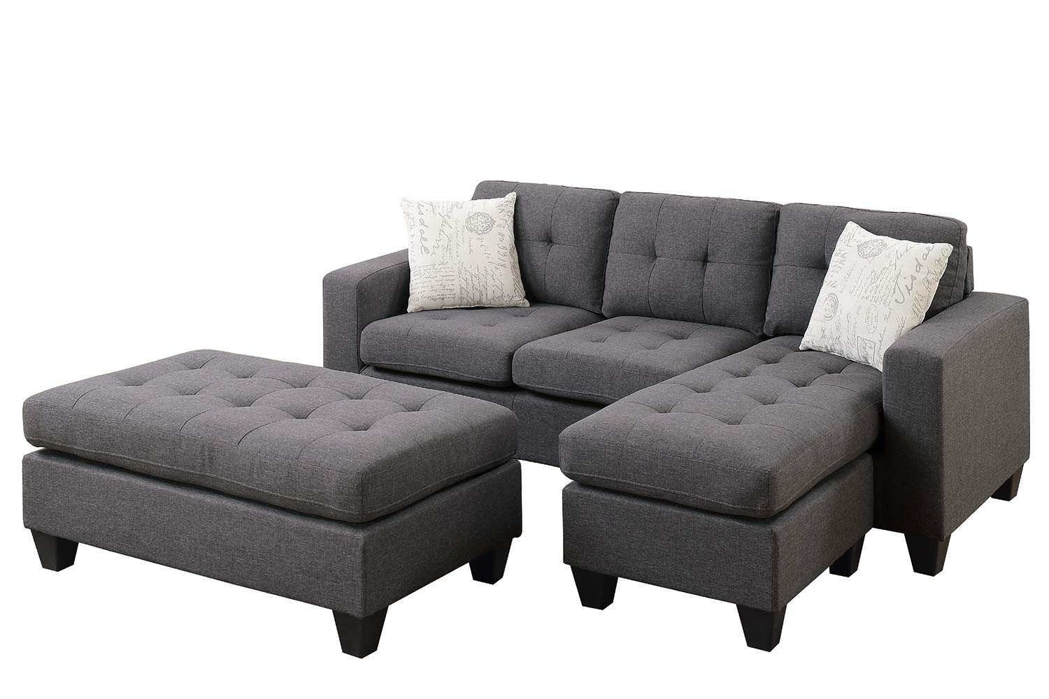 Poundex All in One Sectional with Ottoman and 2 Pillows in Gray, Blue Grey by Poundex