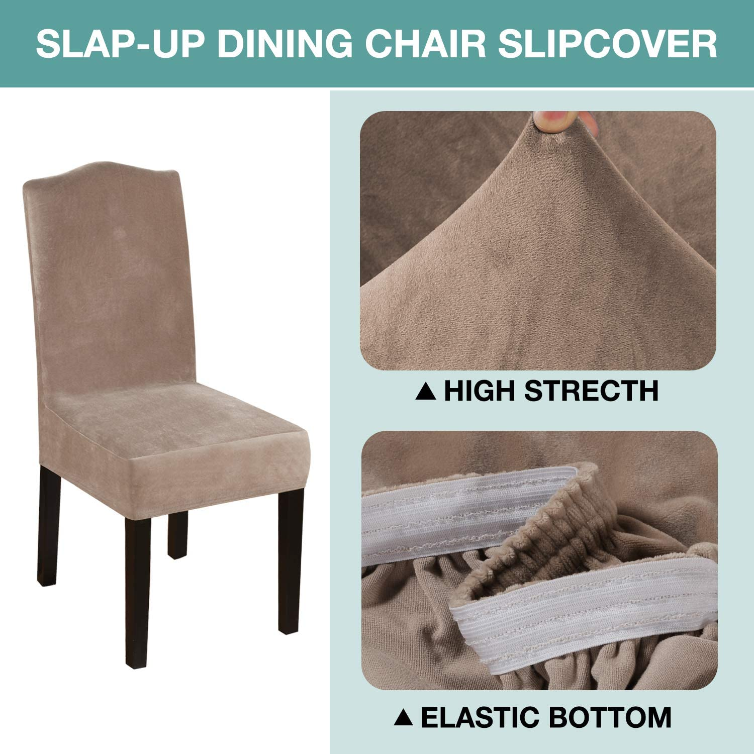 6 Pack Turquoize Stretch Dining Chair Slipcovers Plush Velvet Removable Washable Kitchen Parson Chair Protector Cover Seat Slipcover for Hotel Taupe Banquet Wedding Party Dining Room,Ceremony
