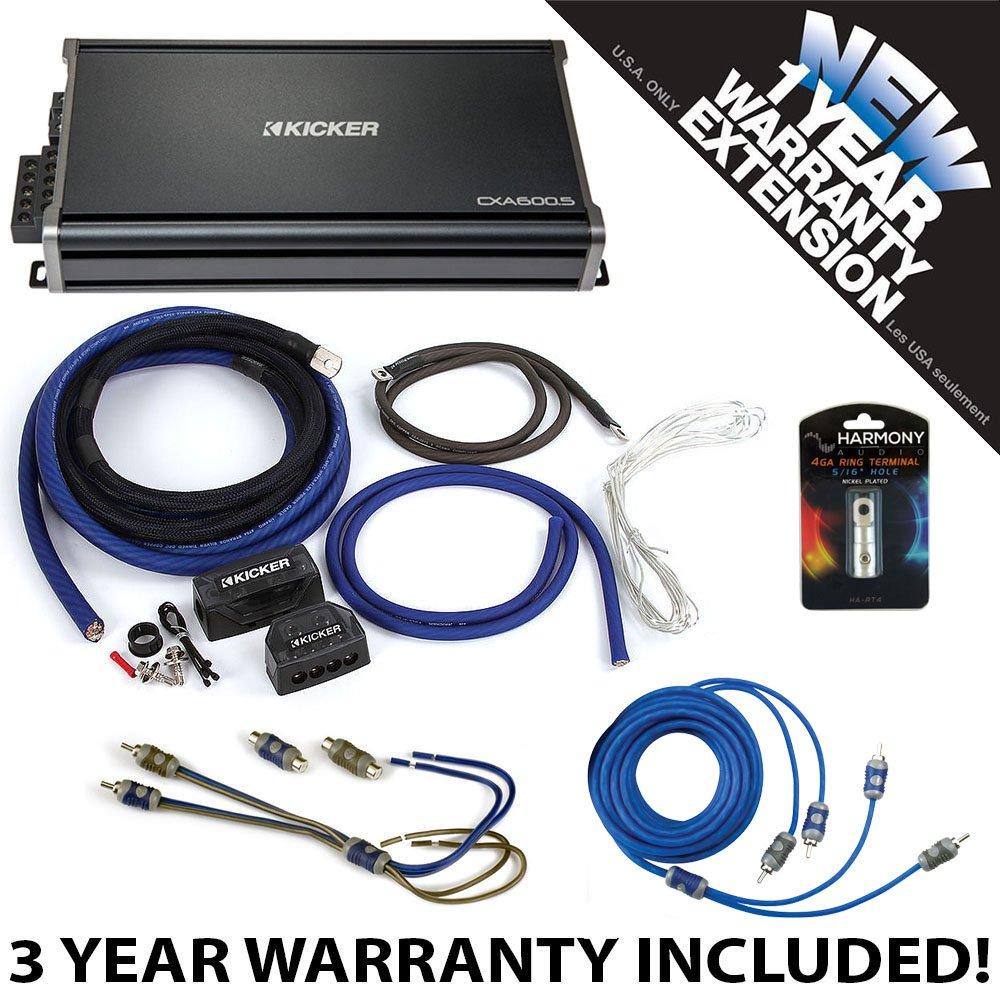 Kicker 43CXA6005 Car Audio 5 Channel Amp CXA600.5 & 1/0 GA Amplifier Accessory Kit - 3 Year Warranty!