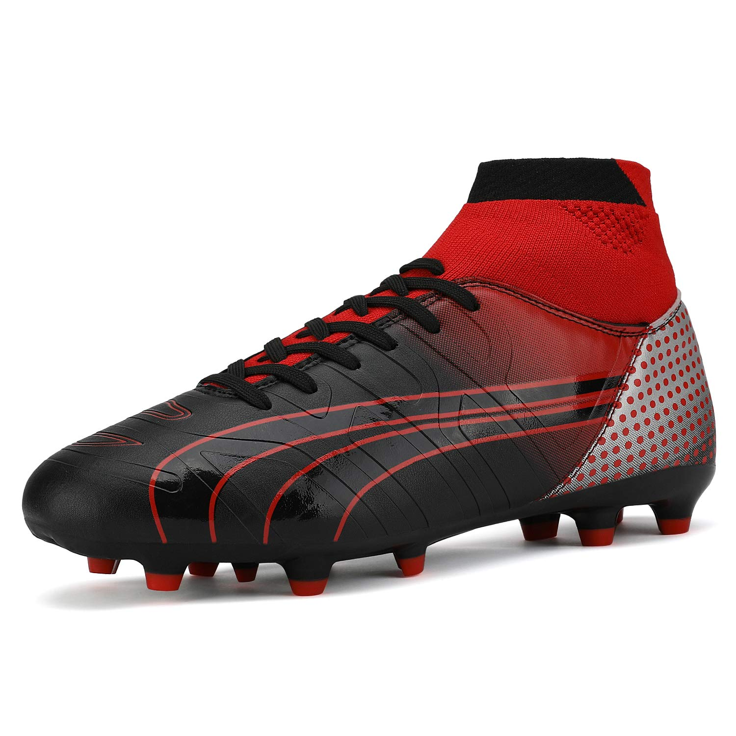 DREAM PAIRS Men's 160862-M Red Black Lt.Grey Cleats Football Soccer Shoes - 8 M US by DREAM PAIRS