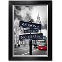 IPIC - Lovers Roadcrossing Sign. Personalized Artwork with Names and Date on, Perfect Love Gift for Anniversary,Wedding,Birthday and Holidays.Picture Size: 18x12, Framed Size: 21x15x1.25