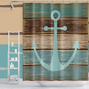 OFila 60x72 Inch Boat Anchor Shower Curtain Nautical Theme Blue Anchor on Old Wood Vintage Rustic Wooden Planks Pattern Waterproof Polyester for Home Dorm Bathroom Decor Bathtubs