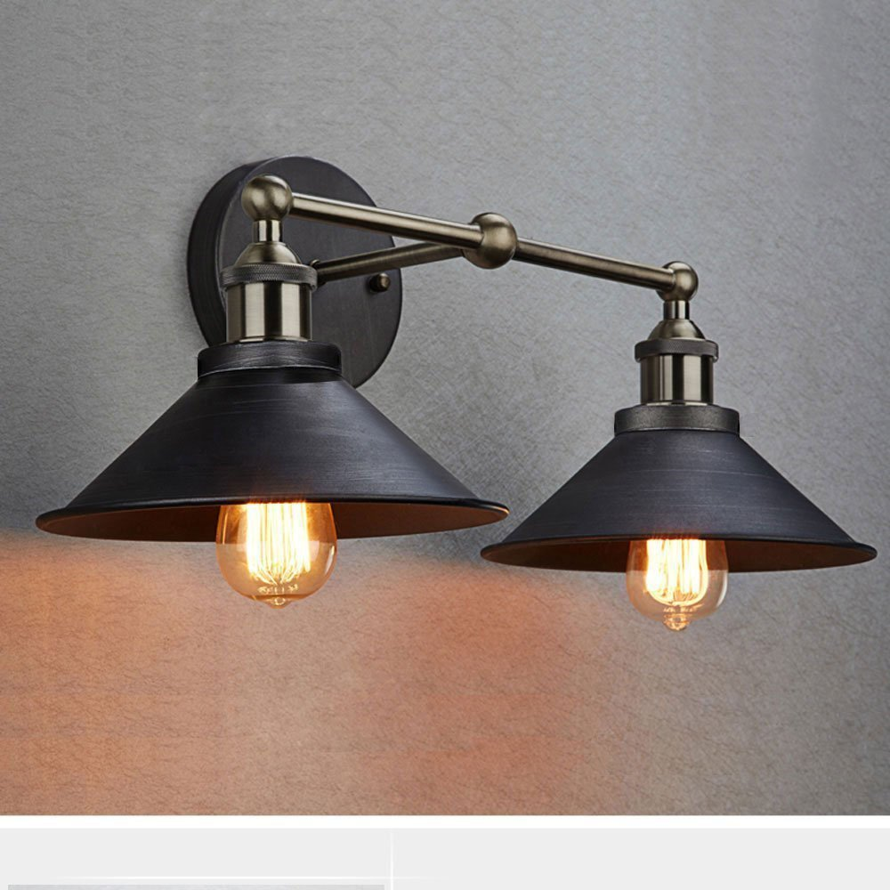 CLAXY Ecopower Industrial Edison Simplicity 2 Light Wall Mount Light Sconces Aged Steel Finished by CLAXY