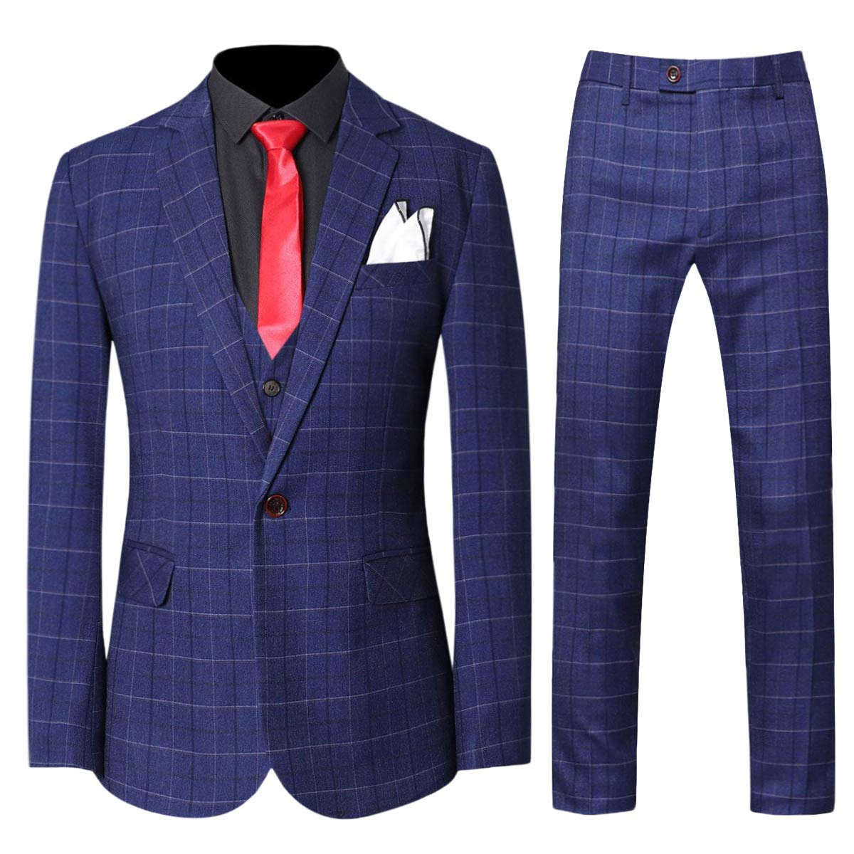 Men's Vintage Style Suits, Classic Suits Mens 3-Piece Plaid Suit Set Modern Fit Jacket Tux Blazer Vest Pants $98.99 AT vintagedancer.com