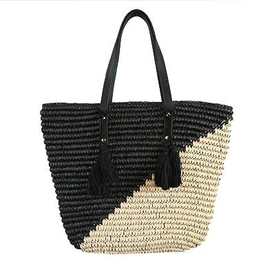 Natural Straw Tote Shoulder Bag Womens Large - Washable Lining BEACH D ( black  37b978fa4b5ea