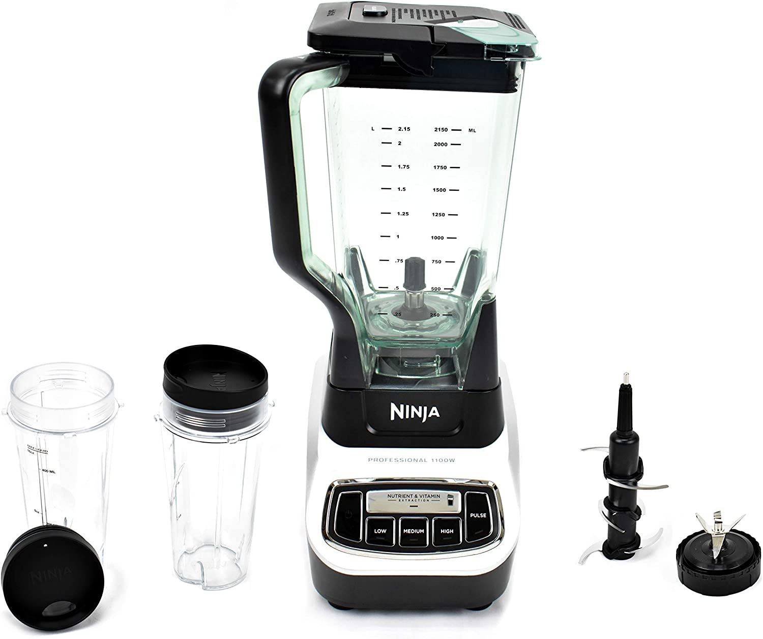 Renewed Ninja/ Professional Blender System and Nutri Ninja/ with Single Serve Cups and XL Pitcher 1100-Watt Motor Base Total Crushing 6 Blade Fin Assembly BL621