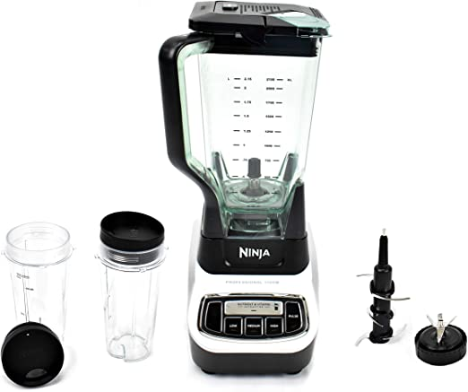 Ninja Professional Blender System and Nutri Ninja with Single Serve Cups and XL Pitcher 1100-Watt Motor Base Total Crushing 6 Blade Fin Assembly BL621 ...