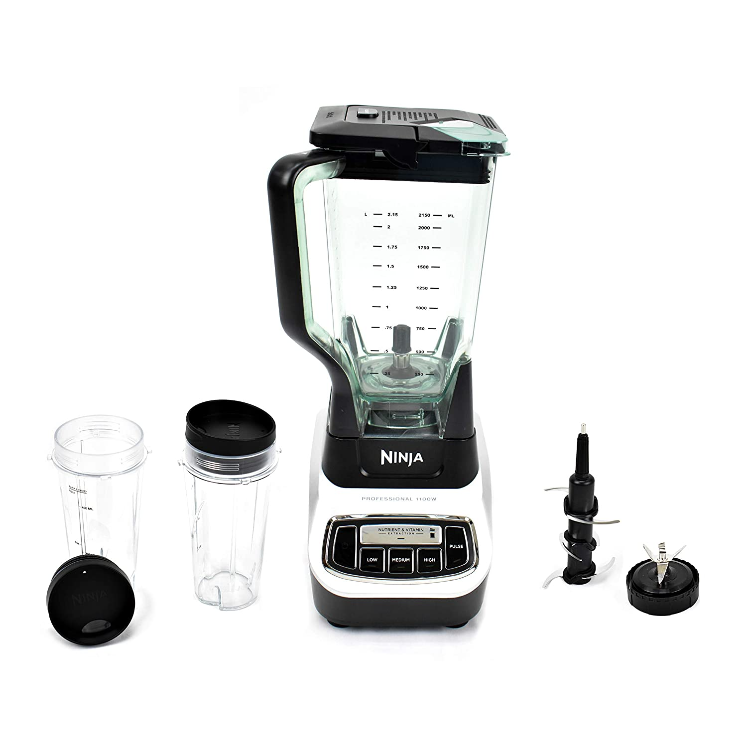 Ninja Professional (BL621) Vitamin Extraction Blender 1100-Watt Motor 72 oz. Total Crushing Pitcher (2) 16 oz. Nutri Ninja Cups with Lids for Smoothies and Juices (Renewed)