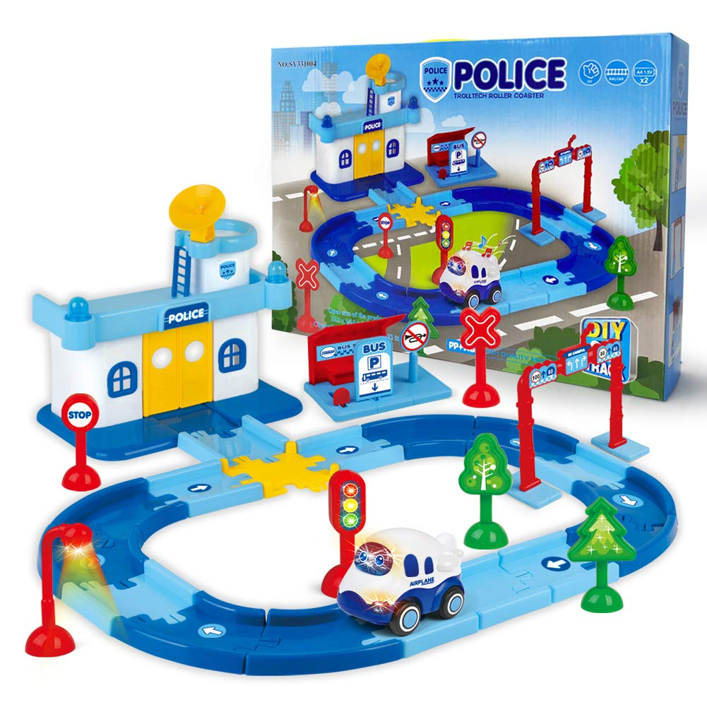 Edenseelake Tracking car Rail car Toys Police Station Set