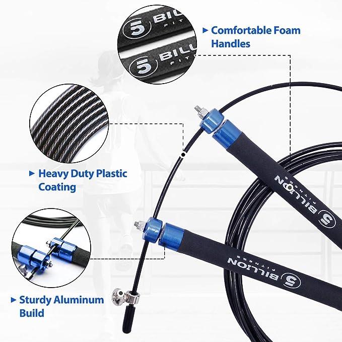 5BILLION Cuerda para Saltar de Velocidad-Aluminio-Ajustable con ...