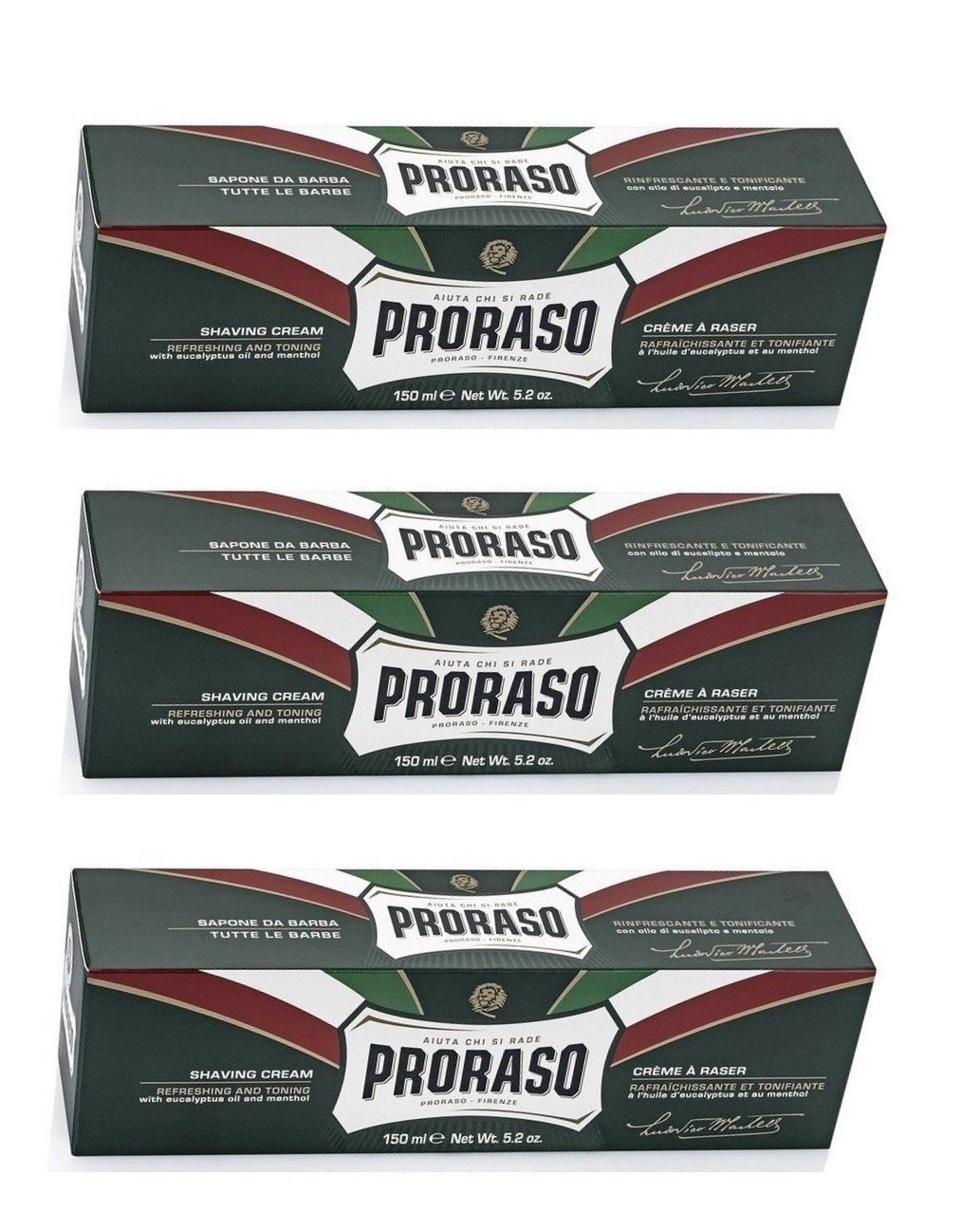 Proraso Shaving Cream, Eucalyptus & Menthol, 150 Ml, New Formulation (Pack of 3) Ludovico Martelli s.r.l.