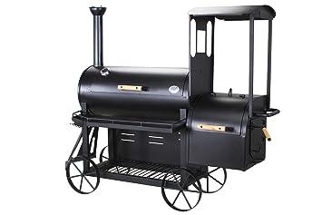 Barbacoa de carbón vegetal y ahumadora profesional, barbacoa con forma de locomotora de vapor, con ruedas grandes, chapa de acero de 3 mm: Amazon.es: Jardín