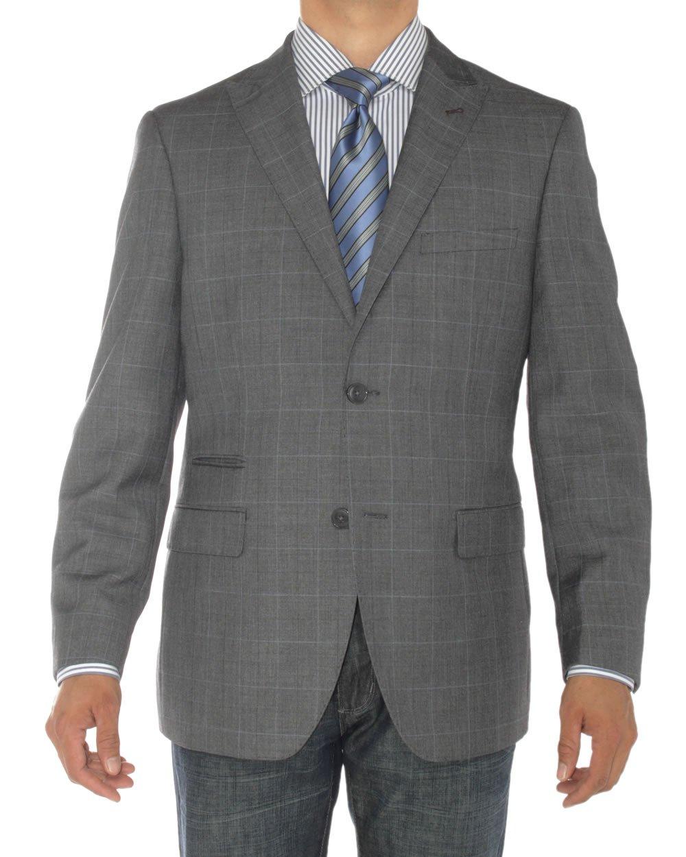 LN LUCIANO NATAZZI Mens Two Button Ticket Pocket Blazer Modern Fit Suit Jacket (50 Long US/60L EU,DK Gray)