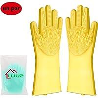 UJUP Guantes de Silicona Lavar Platos: Guante de limpieza mágico con cepillo de esponja - Herramientas de limpieza reutilizables para plato/baño/perro/gato/coche