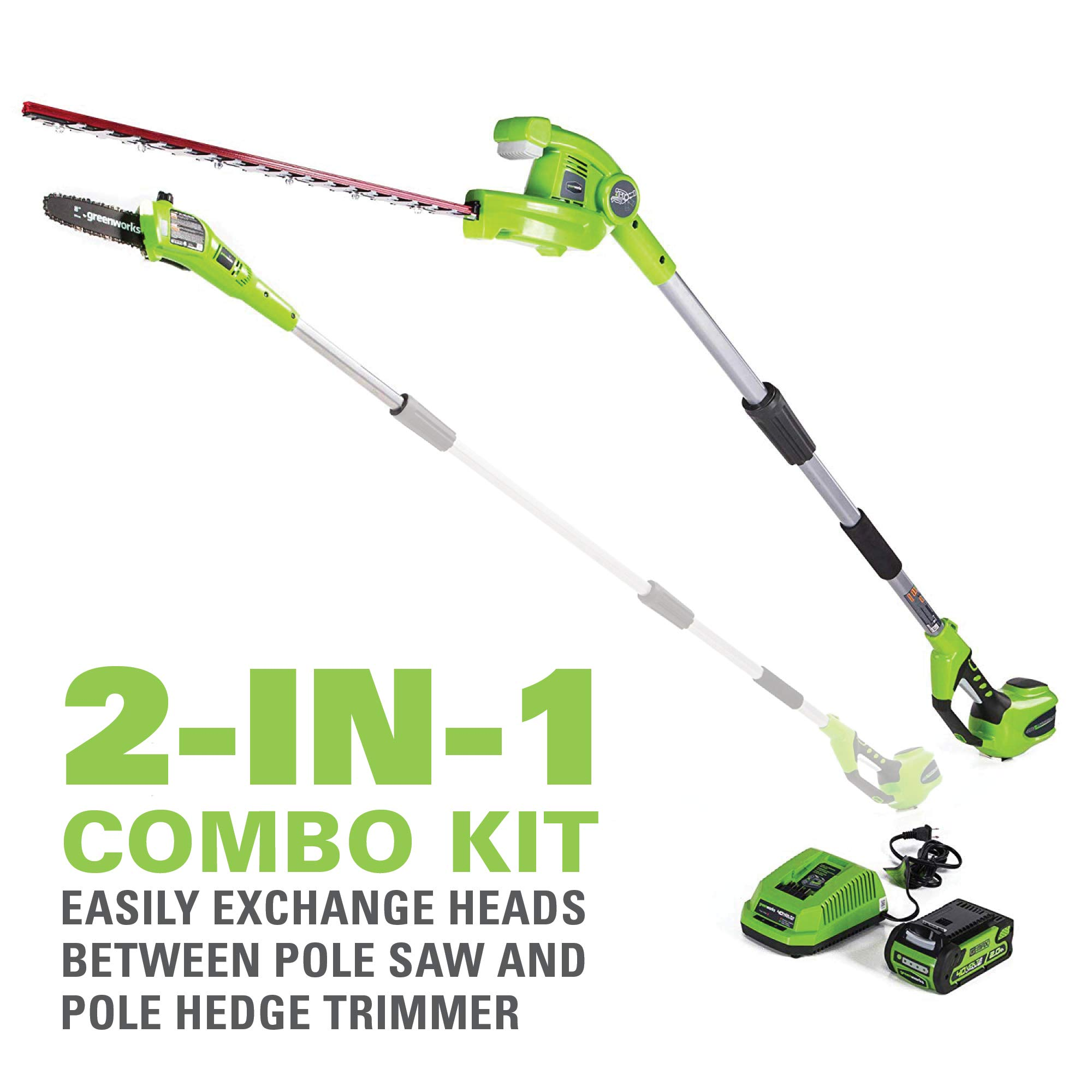 Greenworks 8 Inch 40V Cordless Pole Saw with Hedge Trimmer Attachment 2.0 AH Battery Included PSPH40B210 by Greenworks