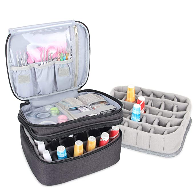Luxja Organizador de esmaltes de uñas, esmaltes de uñas Estuche, Porta esmaltes de uñas- Sostiene 30 Botellas (15 ml - 0.5 FL.oz), Bolsa de Almacenamiento ...