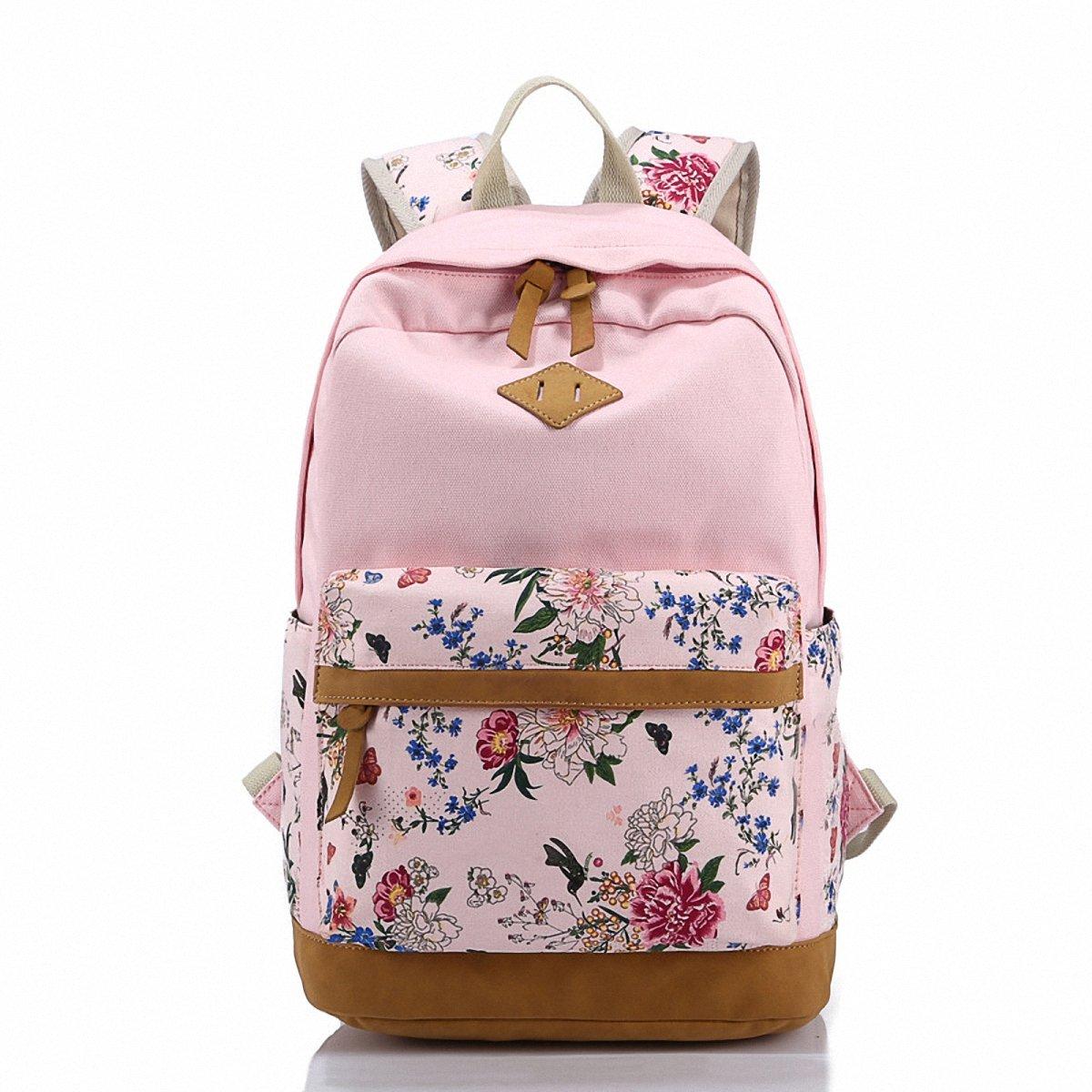 Benchmart Imprint Flower Pattern Canvas School Backpack Laptop Bag Daypack Travel Rucksack Bag School Teens Shoulder Backpack (Dark Blue)