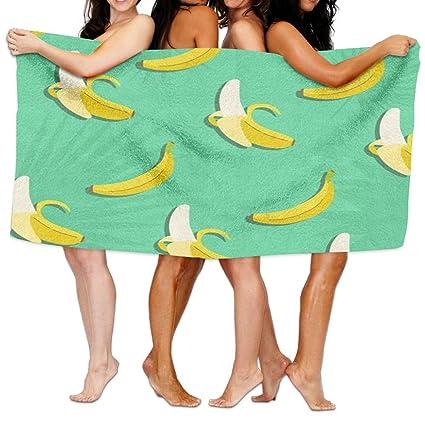 aymitao arte Banana Frutas Toalla de baño cómodo manopla de baño absorbente hoja