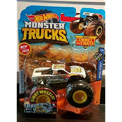 MONSTER-TRUCKS with Giant Wheels Wild Streak Includes Connect and Crash CAR Animal Attack 4/5: Toys & Games