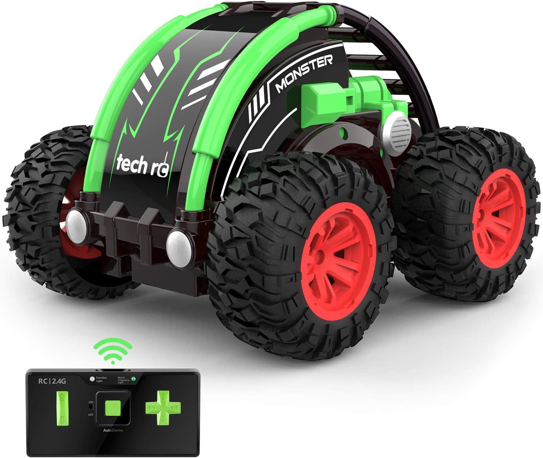 tech rc Mini Coche de Control Remoto 4WD, Coche de Acrobacias Giratorio de Boble Cara de 360°, Batería Recargable Incorporada, Coche Teledirigido para Niños por Radio de 2,4 GHz