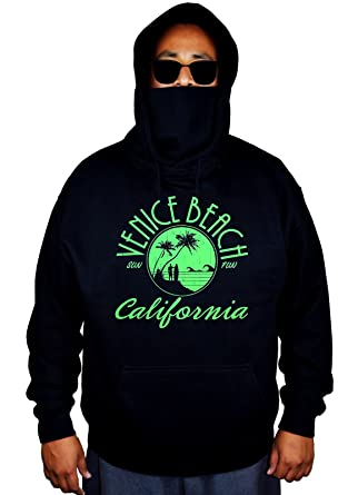 b888d0e0 Interstate Apparel Men's Venice Muscle beach Black Mask Hoodie Sweater Small