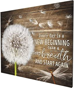 HANKCLES Dandelion Canvas Wall Art Dragonfly Every Day is A New Beginning Paintings Farmhouse Rustic Pictures Home Decor Flowers Art for Bedroom Kitchen Living Room Bathroom Ready to Hang 20x24 Inch