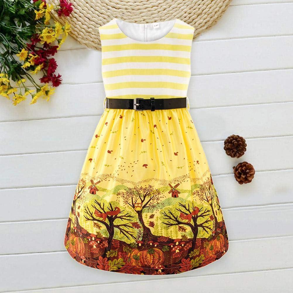 Akaddy Children Girl Summer Sleeveless Clothes Striped Printing Princess Dress