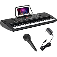LAGRIMA 61 Key Portable Electric Keyboard Piano with Built In Speakers, LED Screen, Microphone, Dual Power Supply, Music…