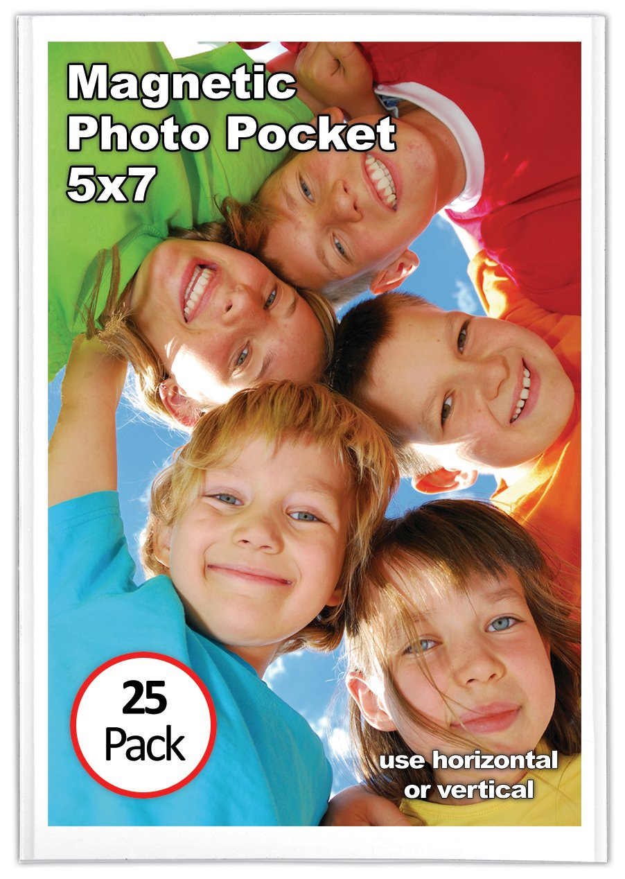 Magtech Magnetic Photo Pocket Picture Frame, White, Holds 5 x 7 Inches Photos, 25 Pack (15725)