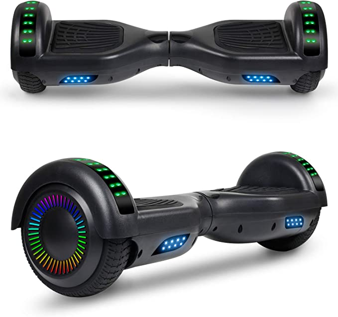 6.5 Self Balancing Scooter Hover Board for Kids Adults with UL2272 Certified Wheels LED Lights and Free Carry Bag LIEAGLE Hoverboard with Bluetooth Chrome Light Blue