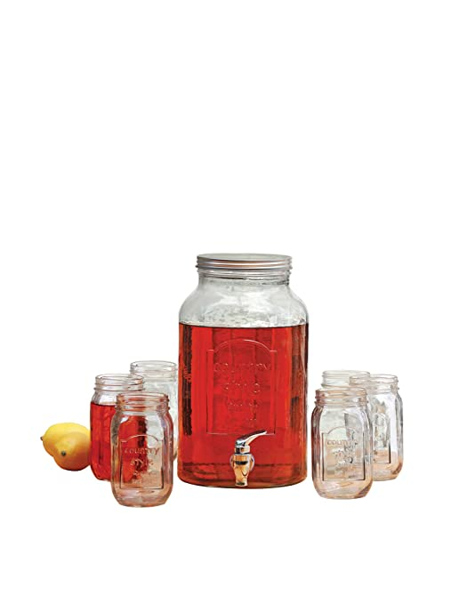 Circleware país cristal Mason tarro bebidas Set, 1,5 galón bebidas Bebidas Dispensador,